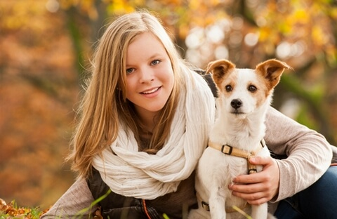 Girl and Jack Russell Terrier